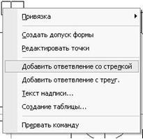 Контекстное меню таблицы допуска формы